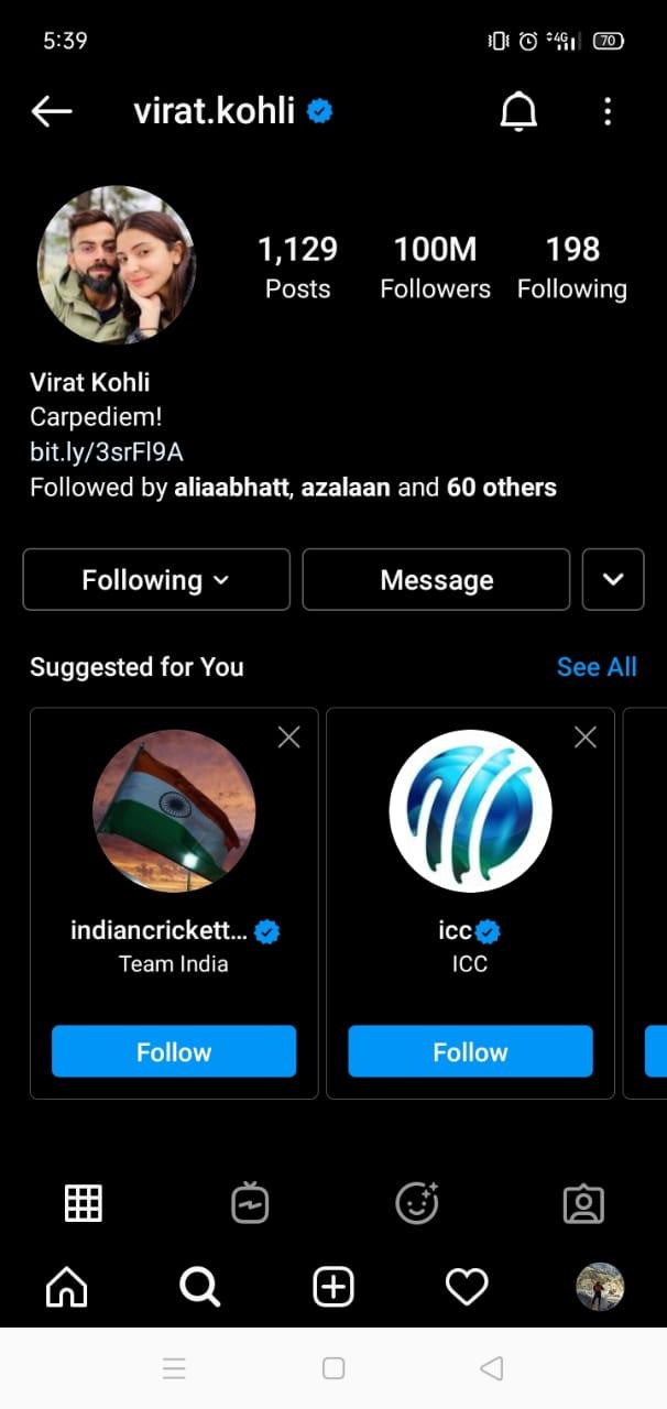 Virat Kohli Hits Century of Millions On Instagram