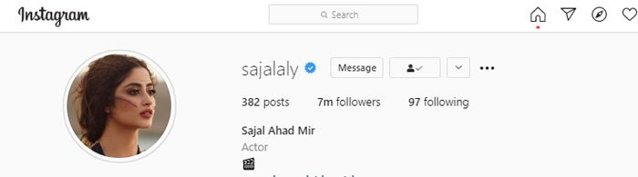 Sajal Aly Hit 7 Million on Instagram and become the fourth most followed Pakistani Celebrity-Social Pakora